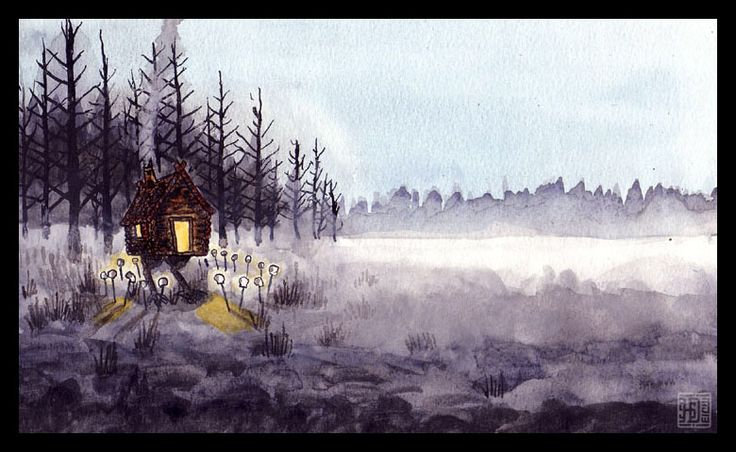 Image from http://www.ghostwoods.com/wp-content/uploads/2009/09/Baba_Yaga_s_Chicken_Legged_Hut_by_majicxiii.jpg.