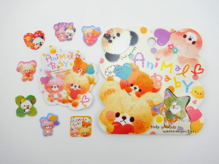 50 Kawaii Japanese baby animal sticker flakes - cute panda - fluffy teddy bear - cute pink bunny rabbit - baby chick - love heart stickers from TheFortuneCat on Etsy Studio