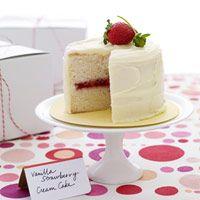 Vanilla Strawberry Cream Cakes Recipe for 6 small cakes to serve 18 guests - Delish.com \\
