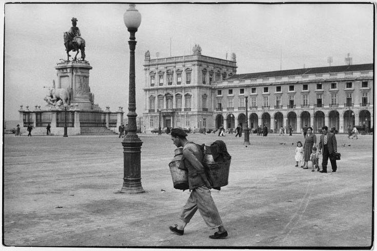 Henri Cartier-Bresson PORTUGAL. Lisbon. 1955. The Commerce Square with Statue of King José I.