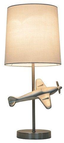 Pillowfort Airplane Table Lamp Silver