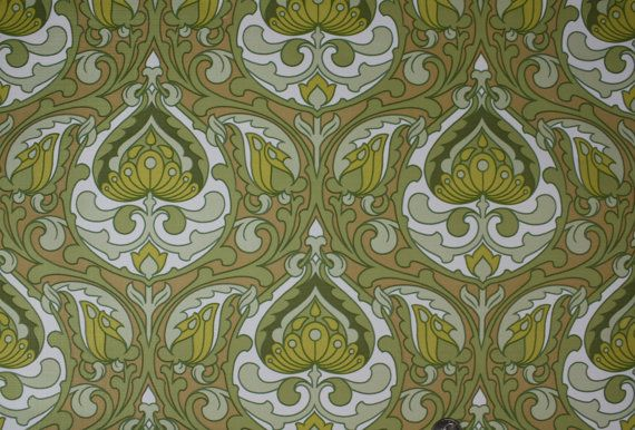 1970's Vintage Vinyl Wallpaper green and yellow art deco damask on Etsy, $14.00