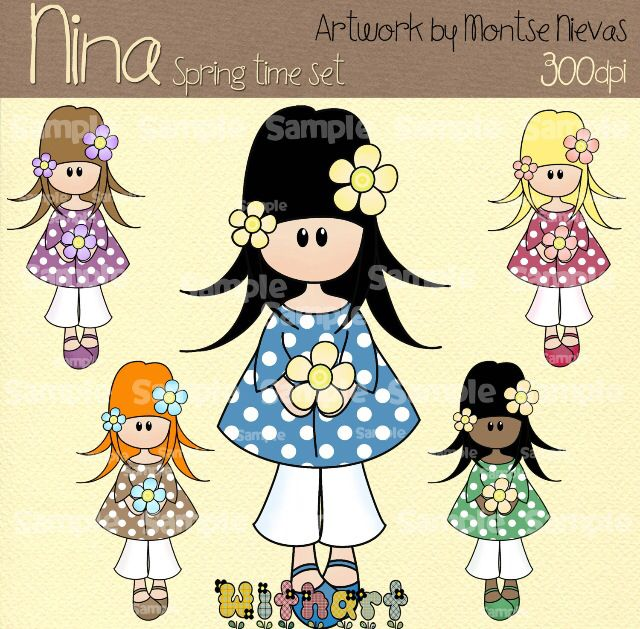 Nina dolls clipart, digital Illustration by Withart for scrapbooking, cardmaking and crafts. Spring, doll, flower. www.etsy.com/shop/withart