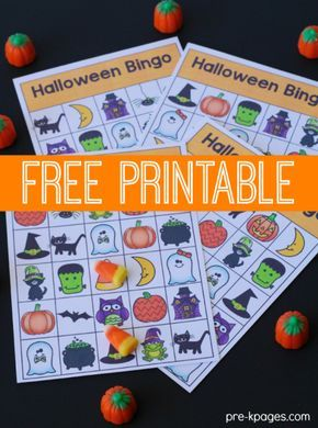 Printable Halloween Bingo Game for Preschool and Kindergarten