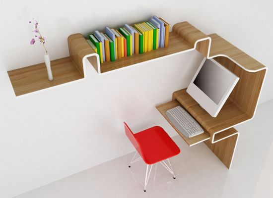 Workstation by MisoSoup studioincorporatesa working surface and a shelving unit in one unusual layout