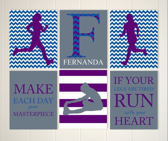 Inspirational girls wall art, runner wall art, track runner wall art, cross country running, teen girl wall art, dorm room decor, set of 6 by PicabooArtStudio