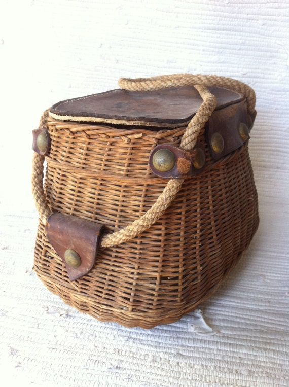 Antique Wicker And Leather Fishing Creel Basket Vintage