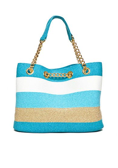 New Directions® Straw Stripe Chain Tote