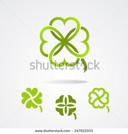 Clover - Saint Patrick trefoil symbol set. Vector illustration
