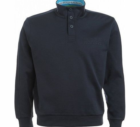 Hugo Boss Green Sweatshirt, Navy Blue 1/2 Neck Popper Sweat Navy M Mens sweatshirt by Hugo Boss Green. This navy blue cotton sweatshirt with a blend of polyamide is soft and comfortable to wear. An essential for your sporty wardrobe, it (Barcode EAN = 4043143489475) http://www.comparestoreprices.co.uk/designer-t-shirts/hugo-boss-green-sweatshirt-navy-blue-1-2-neck-popper-sweat-navy-m.asp