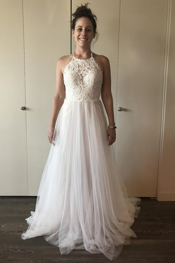 efa6f912f5 A-line Lace Tulle Ivory Wedding Dress Boho Style Online in 2019 ...