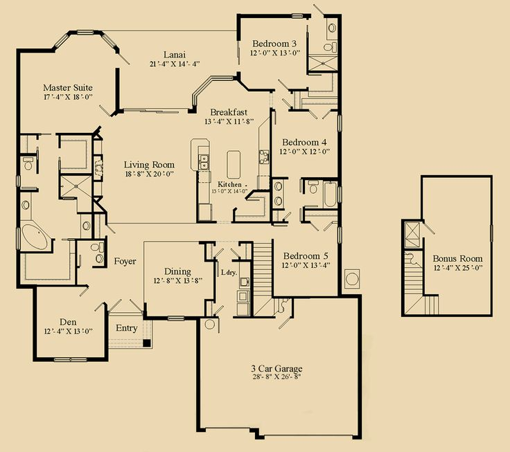 Floorplans tuscan the tuscany 3 255 sf 4 5 bedroom 3 for 3 bedroom floor plans with bonus room