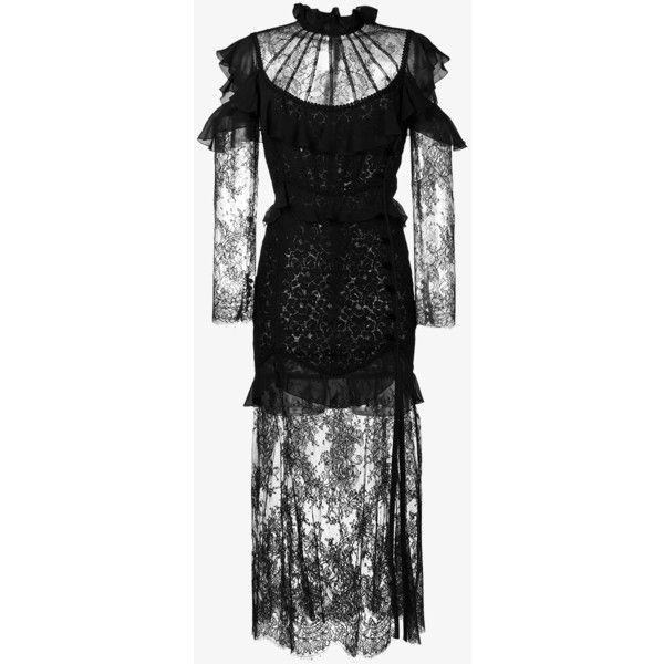 Alessandra Rich Cutout Ruffle Chantilly Lace Gown ($2,440) ❤ liked on Polyvore featuring dresses, gowns, black, long sleeve lace evening gown, cutout shoulder dresses, lace dress, lace evening dresses and cut out shoulder dress