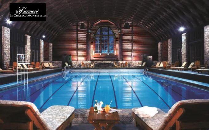 À l'intérieur du luxueux hôtel Fairmont Le Château Montebello, le Fairmont Le Château Montebello Resort and Spa est niché à flanc de colline, au-dessus de la marina, de la rivière et de la forêt.  Au cœur du spa se trouve le foyer où les clients se rassemblent pour admirer les paysages de campagne à travers les grandes fenêtres ou depuis la véranda.  Une piscine intérieure chauffée longue de 23 mètres, une piscine à remous intérieure, deux saunas, ainsi qu'un centre de conditionnement…