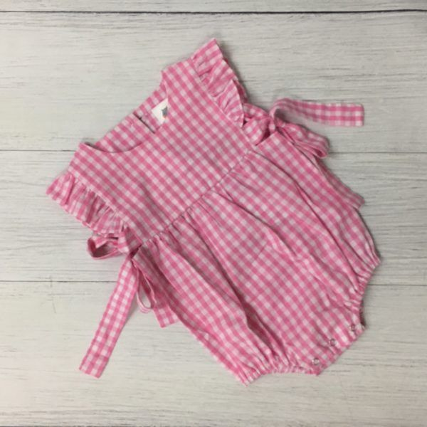 Girl's Pink Gingham Bubble