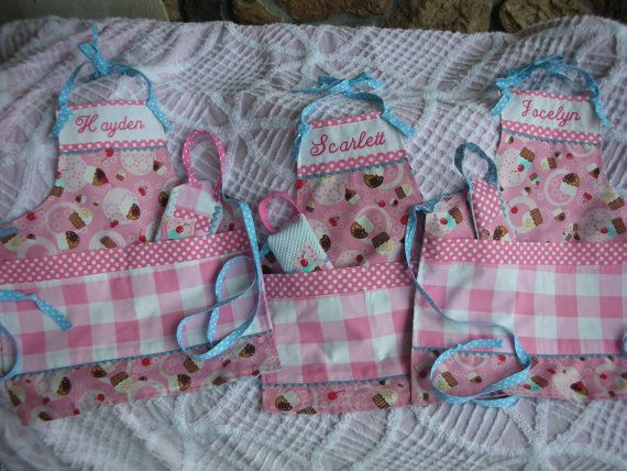 Girls Monogrammed Cupcake Aprons Girls Aprons by AnniesAttic