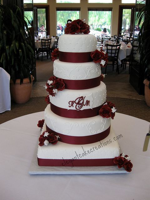 Red Wine and Roses Wedding Cake by Elegant Cake Creations AZ, via Flickr