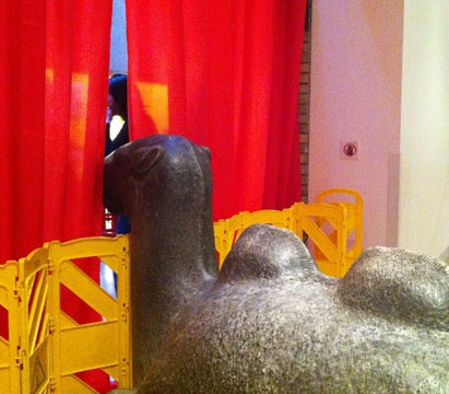 This camel in the Chinese gallery peeks out at the fun. (He never imagined his usual home in the Royal Ontario Museum's Chinese gallery would become a pop-up bar for the Museum's Friday Night Live event.)