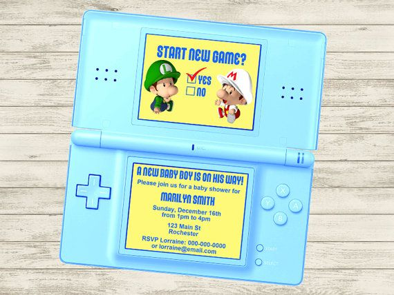 Video Game Super Mario Baby Shower/Party Invitation (Customizable DIY Printable)