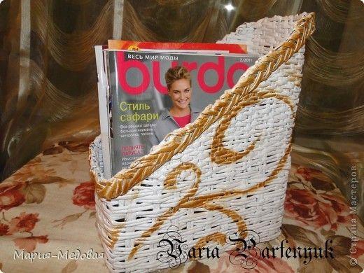 Поделка изделие Плетение Первые плетушки  Бумага газетная Трубочки бумажные фото 6