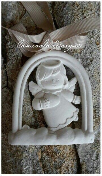 Angioletto di gesso profumato bomboniere battesimo comunione cresima