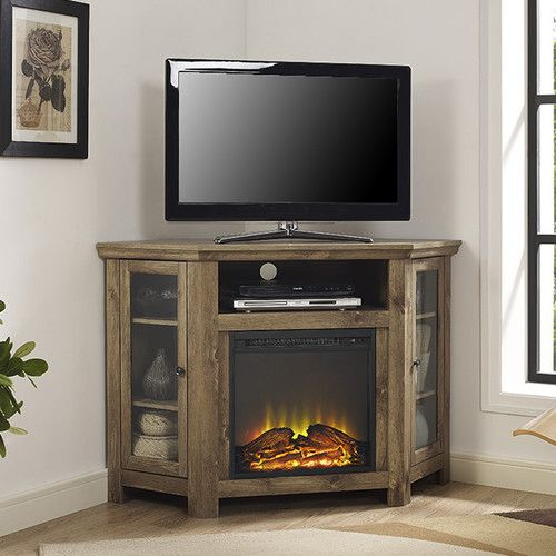found it at wayfairca corner tv stand with electric fireplace