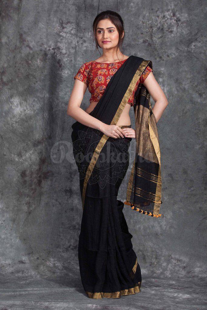 Black Linen Saree With Gold Border-LN061750148