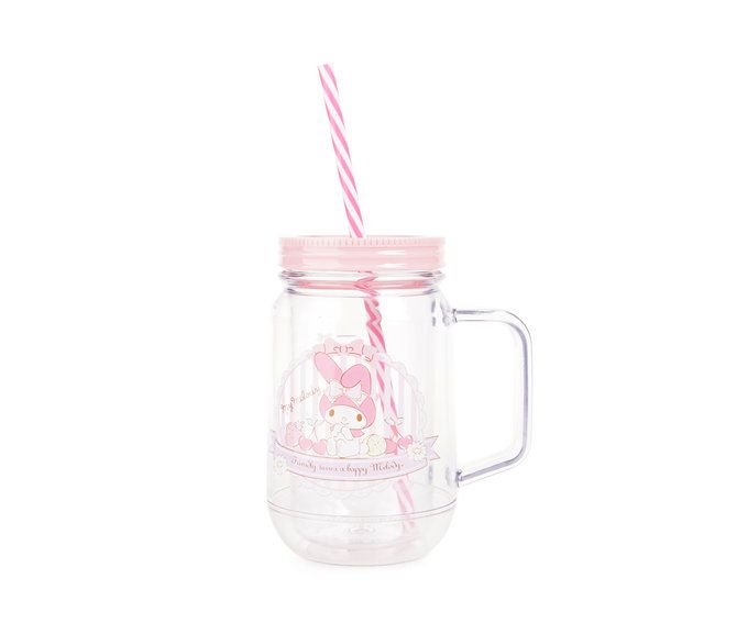 Check out My Melody Plastic Cup with Straw: Mason Jar from Sanrio
