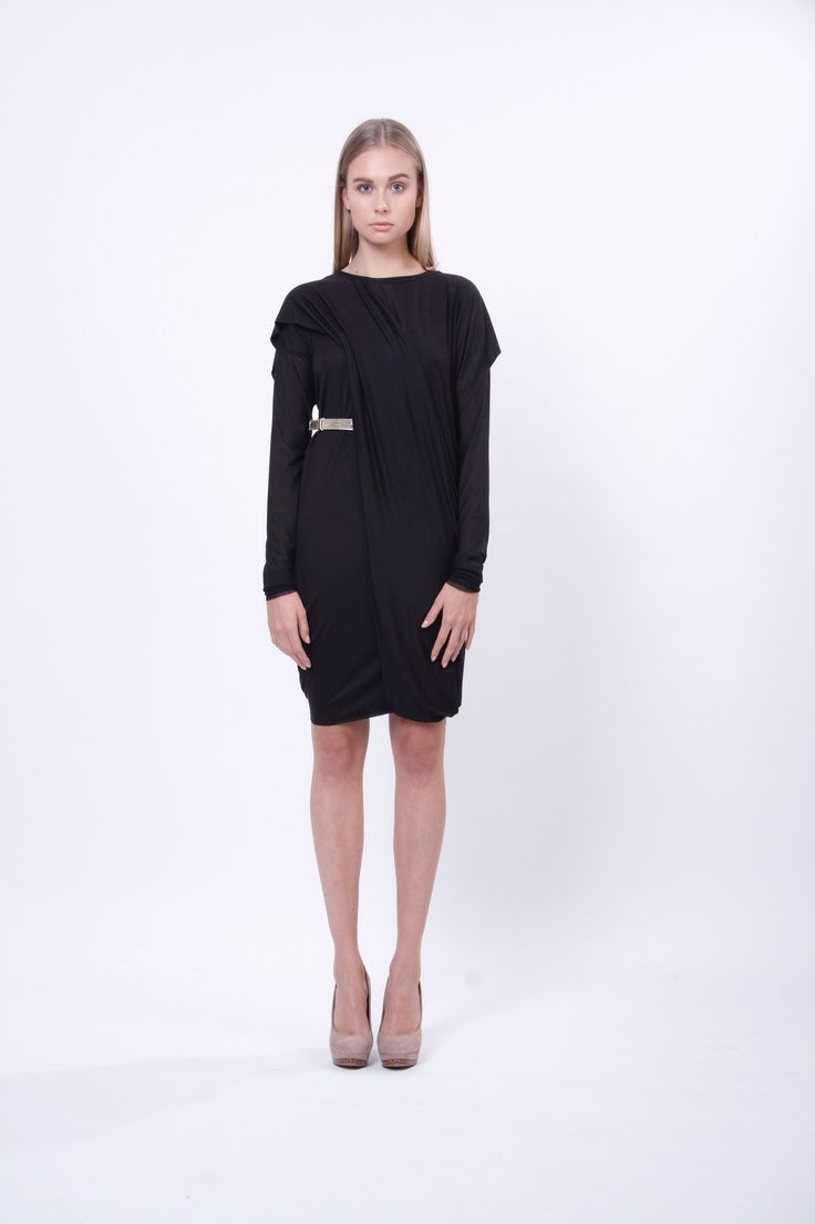jersey wrap dress with trail, design Lucie Kutálková, LEEDA store