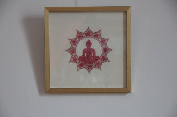 Gemstone Painting of Buddha with Spinel