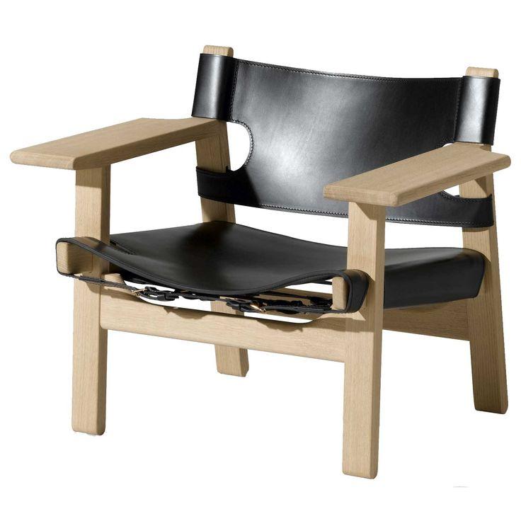 """Stol 2226 """"Den Spanska Stolen"""", obehandlad ek, svart läder från Fredericia Furniture – Köp online på"""