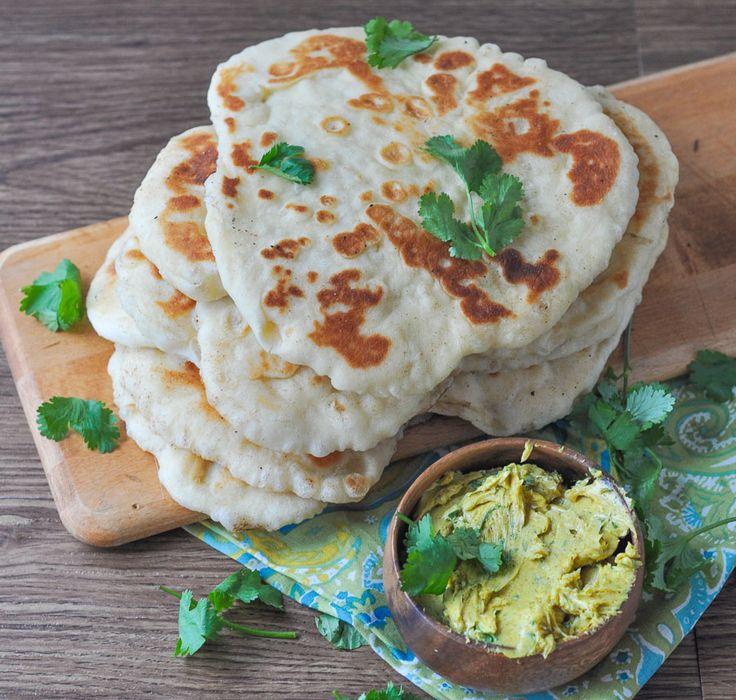 Naan....Cilantro Curry Garlic Butter | Foodie | Pinterest