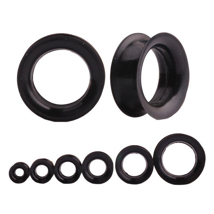 1 Pair Black Silicone Ear Expansion Hollow Ear Gauges Plugs Orelha Flesh Tunnels Body Piercing Jewelry