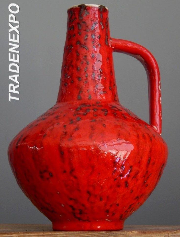 "11"" Vintage 60-70's CARSTENS Atelier Red Vase West German Pottery Fat Lava Era"
