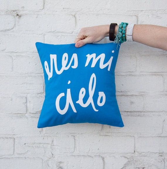 Cobalt and White Eres Mi Cielo Pillow  12 x 12 by BrightJuly, $55.00