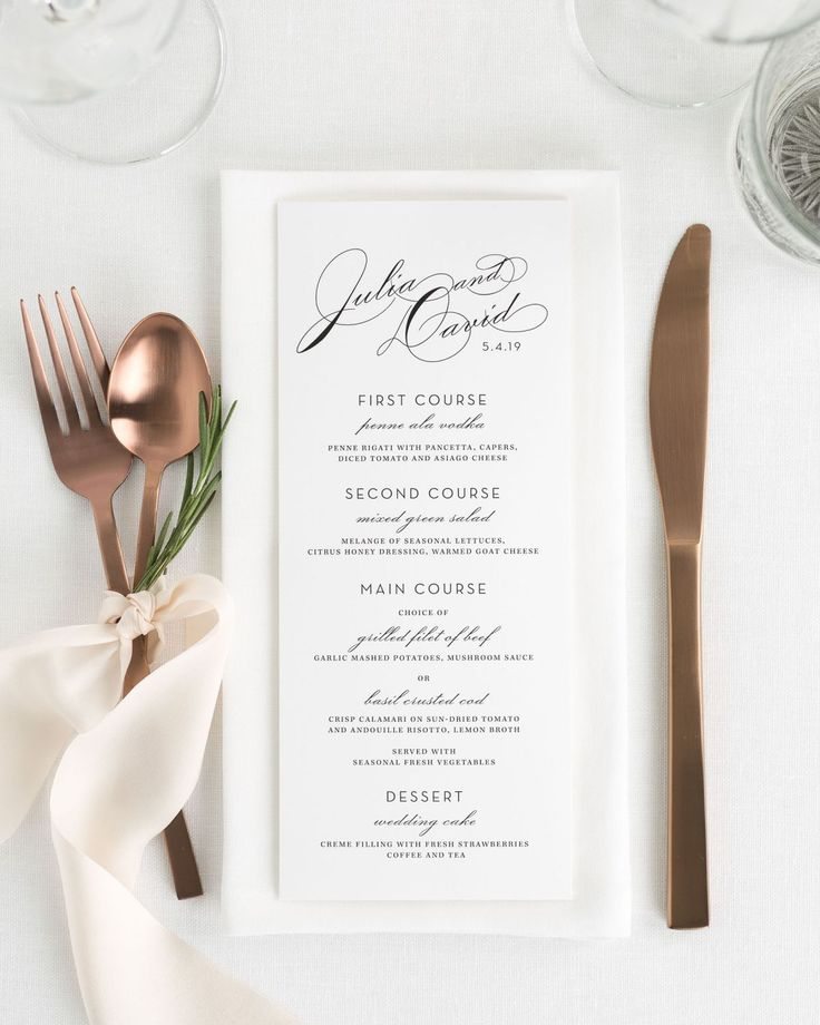 Vintage Wedding Menu: White background with gold dust or champagne writing.