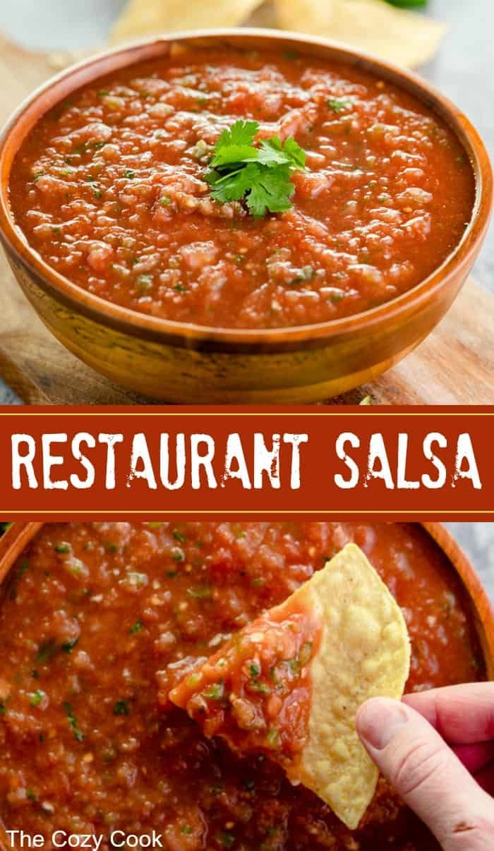 This easy, homemade restaurant salsa is super fres…