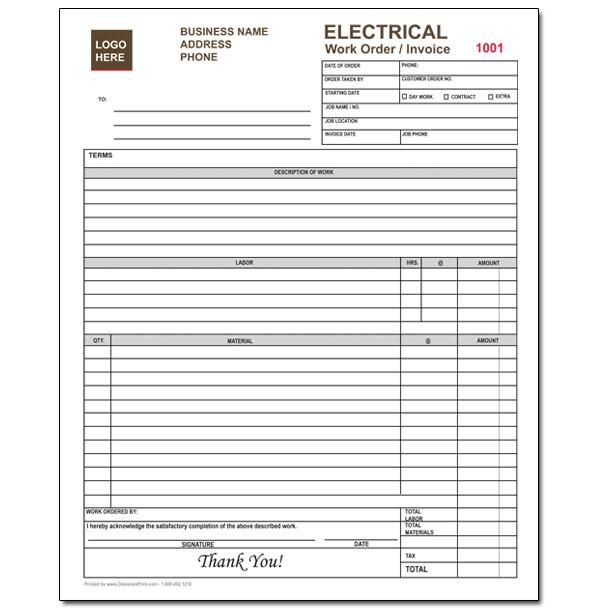 Designsnprint Electrical Contractor Forms Custom Carbonless Designsnprint 13191b32 Resumesample Re Invoice Template Invoice Design Template Schedule Template