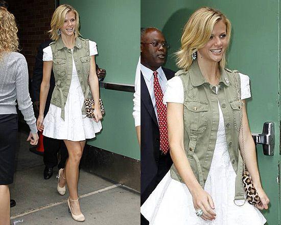 girlie sundress + military vest + leopard purse= feminine safari-like style