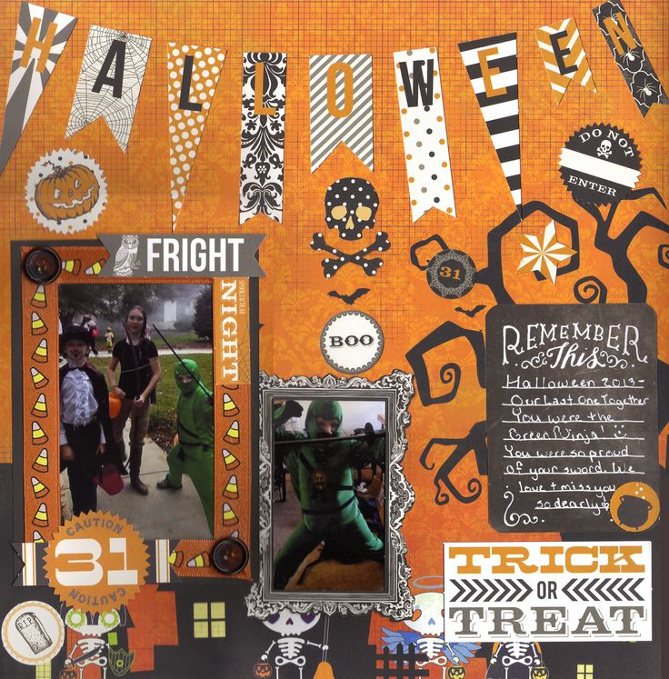 Our Last Halloween - 2013 - Scrapbook.com  Love the banner used on this layout