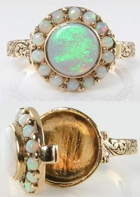 Victorian-inspired gold and opal poison ring. Via Diamonds in the Library.