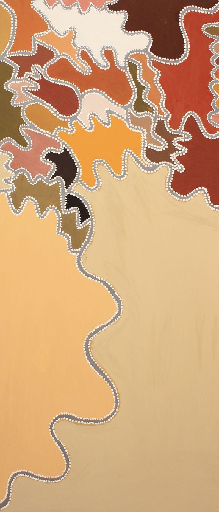 Phyllis Ningaramara - 'Woorrewoorrem - Wet Season', 2013 - 180 x 80cm - Natural ochre and pigments on canvas - Ref. 439013 - IDAIA - International Development of Australian Indigenous Art © The Artists - Photos Courtesy of Waringarri Aboriginal Arts