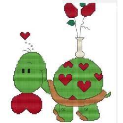 Valentines Day Turtle cross-stitch