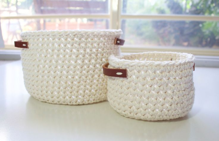 Crochet baskets | Pair by Thislushcorner on Etsy