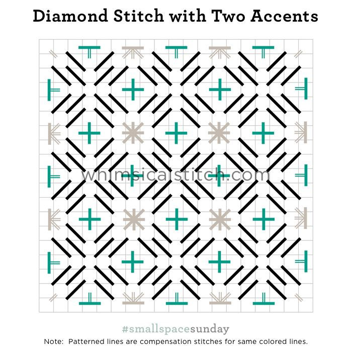 Diamond Stitch with Two Accents from March 4, 2018 whimsicalstitch.com/whimsicalwednesdays blog post.