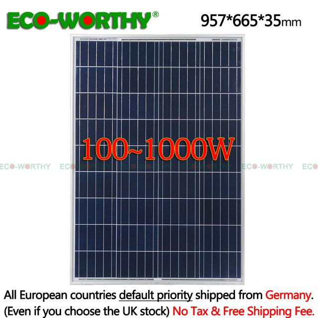 Sale 1 2 3 4 6 8 10pcs 100w Watts 12v Volt Poly Solar Panels Polycrystalline Battery Charging Off Grid Carav Solar Power House Solar Energy Panels Solar Panels