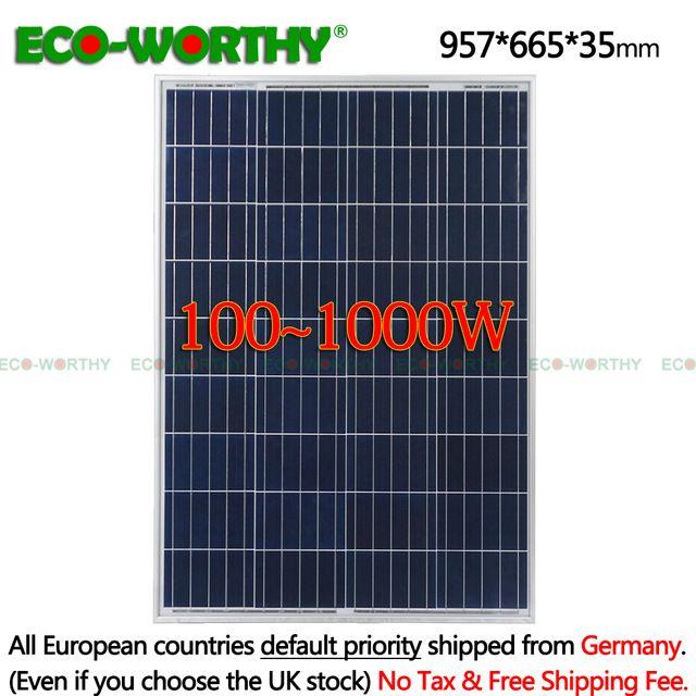 Sale 1 2 3 4 6 8 10pcs 100w Watts 12v Volt Poly Solar Panels Polycrystalline Battery Charging Off Grid Caravan Home 12v 600 800w Review Solar Power House Solar Panels Solar Power System