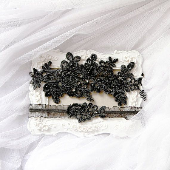 Wedding Garter Set Bridal Belts Black Garters By NAFEstudio