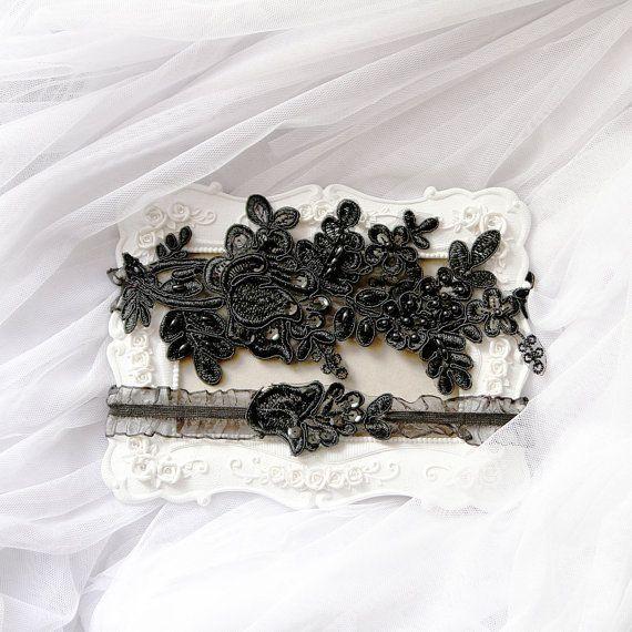 Wedding Garter Set Bridal Garter Belts Black Garters by NAFEstudio