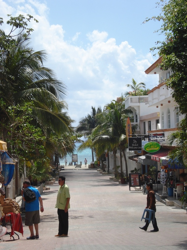 Playa Del Carmen, Mexico - Beautiful beach awaits you at the end of that street!